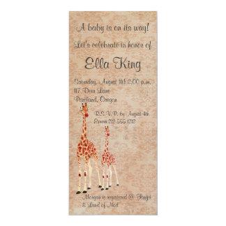 "Rose Giraffes Baby Invitation 4"" X 9.25"" Invitation Card"