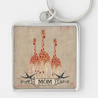 Rose Giraffes  Mom  Keychain