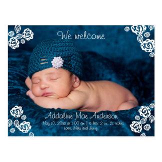Rose Girl Birth Annoucment Postcard