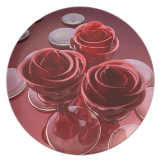 Rose glass plate