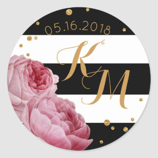Rose Glitter Confetti Stripe Modern Floral Wedding Classic Round Sticker