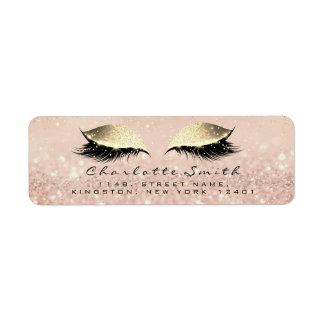 Rose Glitter RSVP Return Address Eye Lashes Makeup Return Address Label