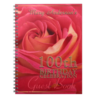 Rose + gold 100th Birthday Celebration Guest Book Spiral Notebook