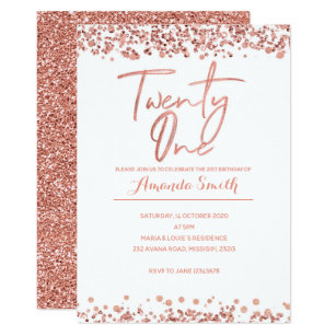 Rose Gold 21st Birthday Invitation