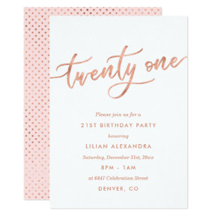 Rose Gold 21st Birthday Invitations Girl Faux Foil