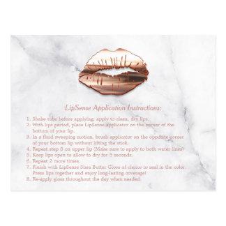 Rose Gold 3D Lips Marble Makeup Instruction Tips Postcard