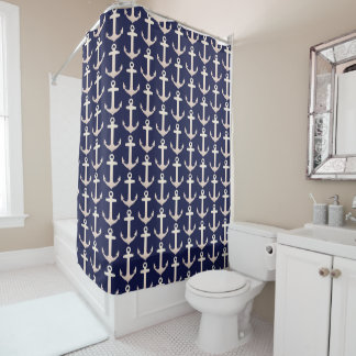 Rose Gold Anchor Pattern Shower Curtain