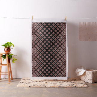 Rose Gold And Black Geometric Shapes Pattern Fabric