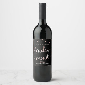 Rose Gold and Black | Glam Bridesmaid Proposal Wine Label