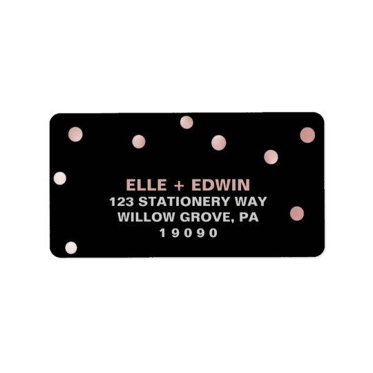 Rose Gold and Black | Glam Confetti Wedding Address Label