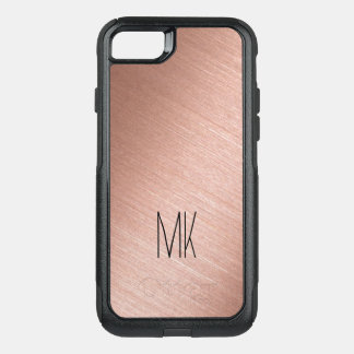 Rose Gold and Black Monogram OtterBox Commuter iPhone 8/7 Case