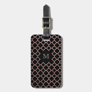 Rose Gold and Black quatrefoil Luggage Tag