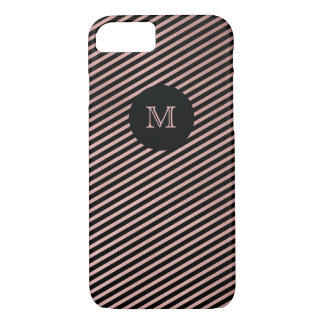Rose Gold and black striped Phone case