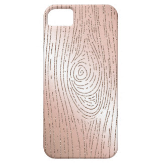 Rose gold and glitter faux bois phone case