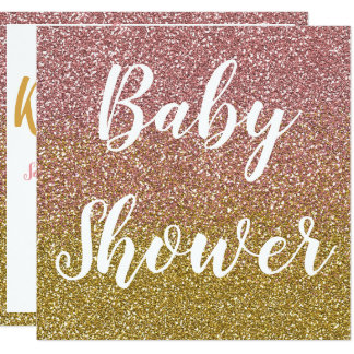 Rose Gold and Gold Glitter Baby Shower Invitations