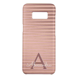 Rose Gold and Gold Stripes Monogram Girly Case-Mate Samsung Galaxy S8 Case