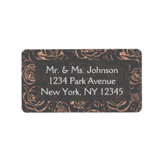 Rose Gold and Gray Wedding Address Lables Label