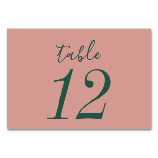 Rose Gold and Green Floral Wedding Table Cards