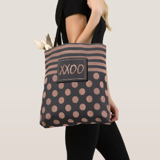 Rose Gold and Grey XXOO Tote Bag
