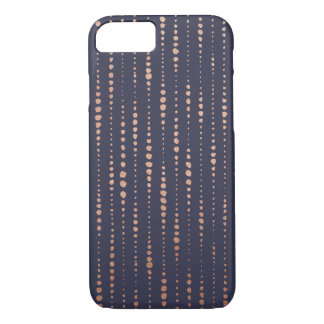 Rose Gold and Navy Dotted Lines iPhone 7 Case