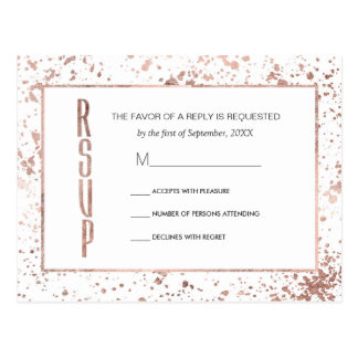 Rose Gold and Paint Splatters RSVP Postcards