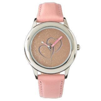 Rose Gold and Pink with Hearts Watch