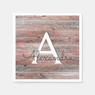 Rose Gold and Rustic Wood Monogram Birthday Disposable Serviettes