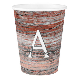 Rose Gold and Rustic Wood Monogram Birthday Paper Cup