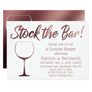 Rose Gold and White Stock the Bar Couples Shower Card