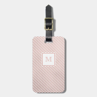 Rose Gold and White Striped Luggage Tag