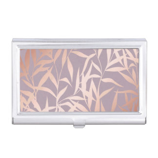 rose gold, asian,leaf,pattern,bamboo trees, beauty business card holder