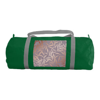rose gold, asian,leaf,pattern,bamboo trees, beauty gym bag