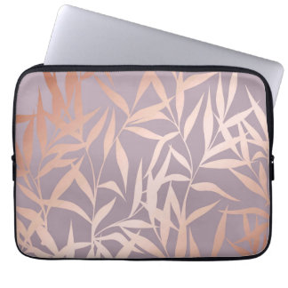 rose gold, asian,leaf,pattern,bamboo trees, beauty laptop sleeve