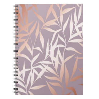 rose gold, asian,leaf,pattern,bamboo trees, beauty spiral notebook