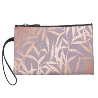 rose gold, asian,leaf,pattern,bamboo trees, beauty suede wristlet
