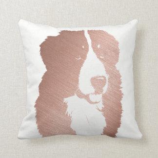 Rose Gold Bernese Mountain Dog Face Cushion