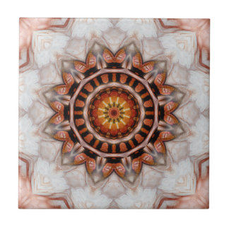 Rose Gold Bird Feather Geometric Pattern Tile