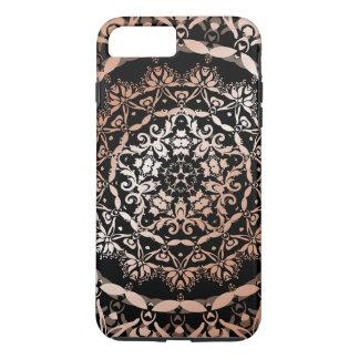 Rose Gold Black Floral Mandala iPhone 7 Plus Case
