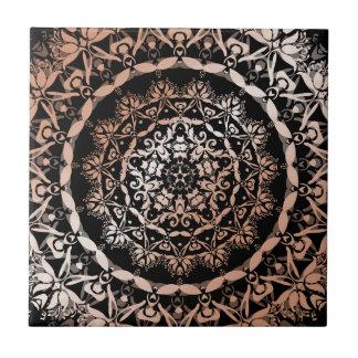 Rose Gold  Black Floral  Mandala Tile