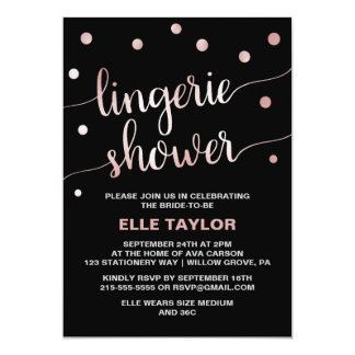Rose Gold & Black Glam Confetti Lingerie Shower Card