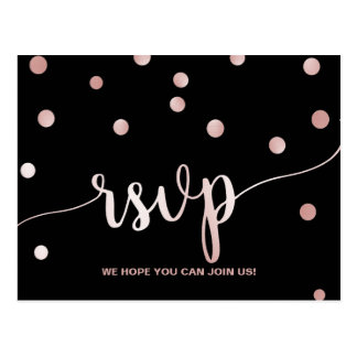 Rose Gold & Black Glam Confetti Song Request RSVP Postcard