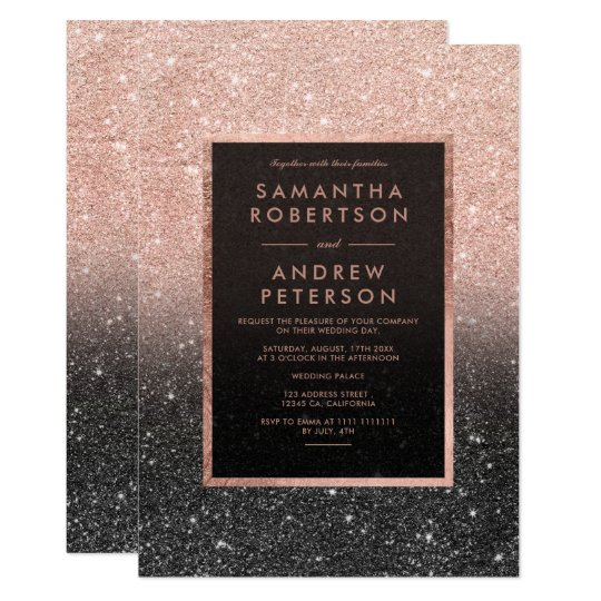 Rose gold black glitter frame ombre wedding card
