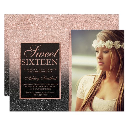 Rose gold black glitter ombre photo Sweet SIxteen Card