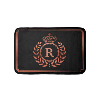 Rose Gold Black Laurel Wreath Crown Monogrammed Bath Mat