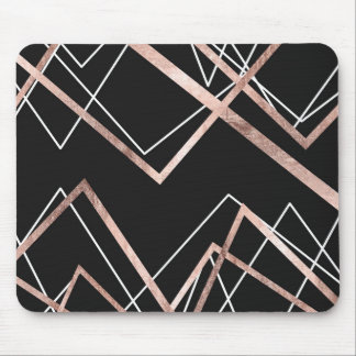 Rose Gold Black Linear Triangle Abstract Pattern Mouse Pad