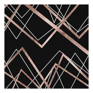Rose Gold Black Linear Triangle Abstract Pattern Poster