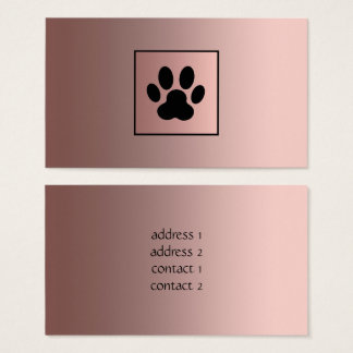 rose gold black paw print pet business card