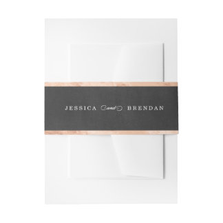 Rose Gold & Black Wedding Invitation Belly Band