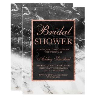 Rose gold black white marble block bridal shower card