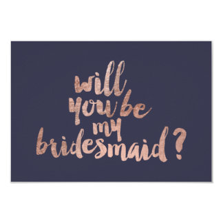 Rose gold blue Will you be my Bridesmaid Card